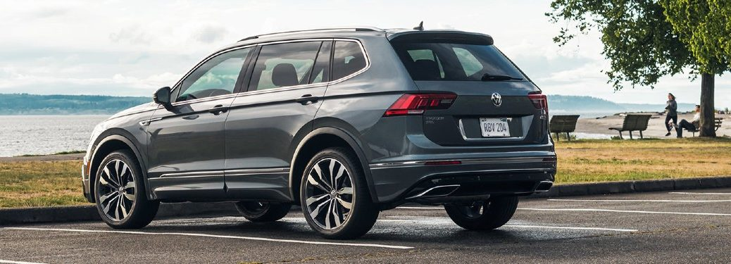 Rear driver angle of a grey 2021 Volkswagen Tiguan