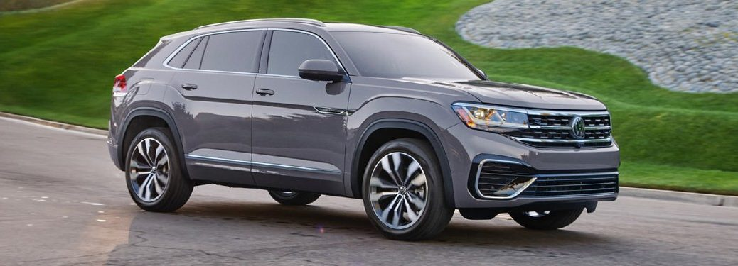 Front passenger angle of a grey 2021 Volkswagen Atlas Cross Sport