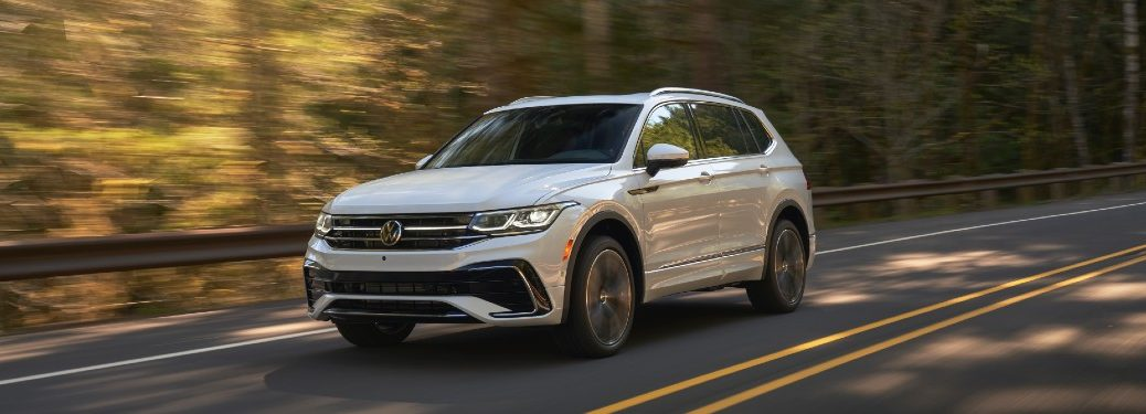 Front driver angle of a white 2022 Volkswagen Tiguan