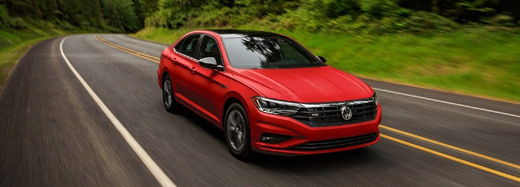 Front passenger angle of a red 2021 Volkswagen Jetta