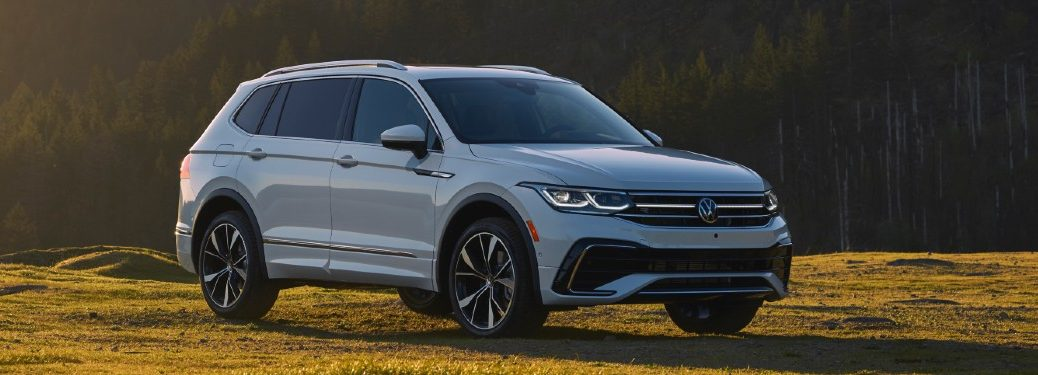 Front passenger angle of a white 2022 Volkswagen Tiguan