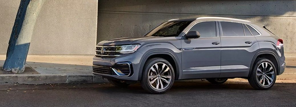 Front driver angle of a grey 2021 Volkswagen Atlas Cross Sport