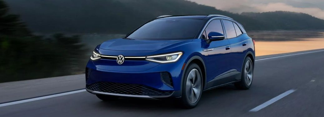 Front driver angle of a blue 2021 Volkswagen ID.4