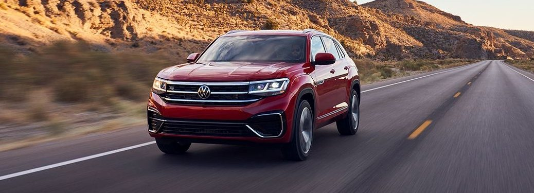 Front driver angle of a red 2022 Volkswagen Atlas Cross Sport