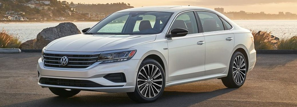Front driver angle of a white 2022 Volkswagen Passat Limited Edition