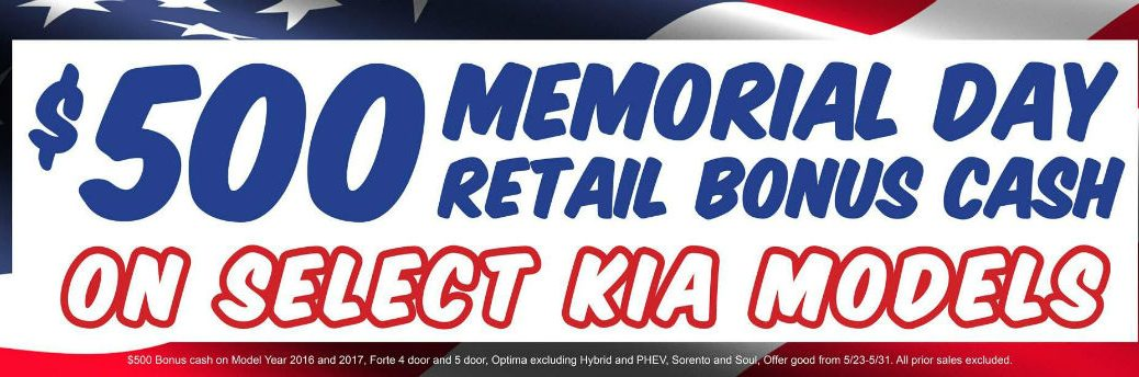 Kia Memorial Day cash 2016 and 2017 models Boucher Kia Racine WI