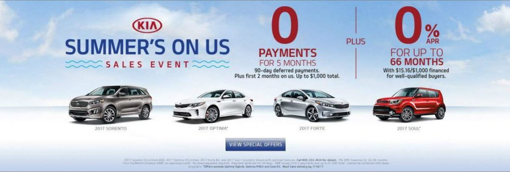 Kia Summer's On Us sales event 2017 Optima Soul with lease specials and cash back