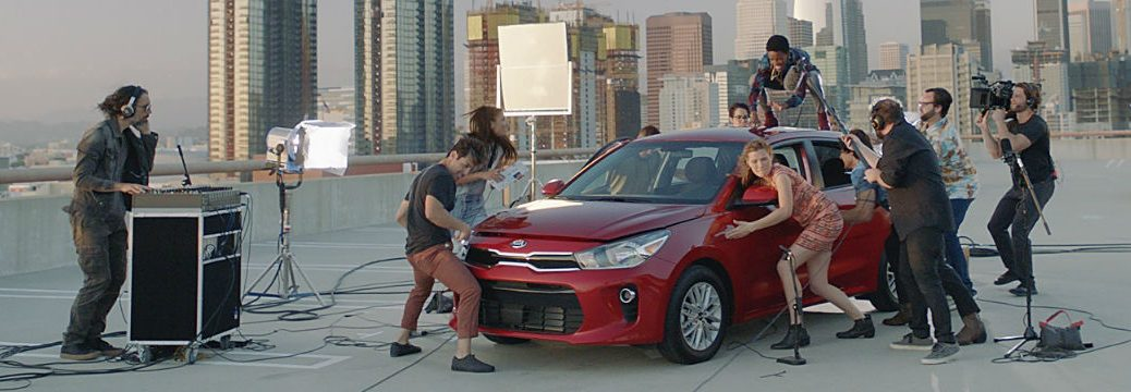 2018 Kia Rio commercial artists and performers making noise with Rio vehicle parts