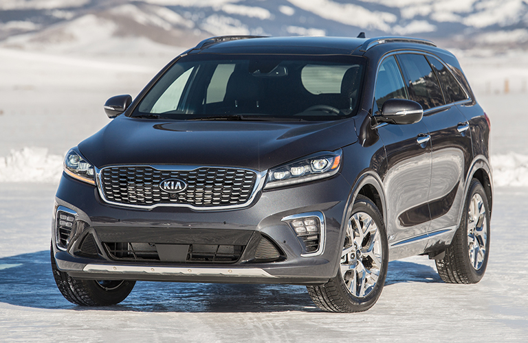 Front view of 2019 Kia Sorento parked on snowy road