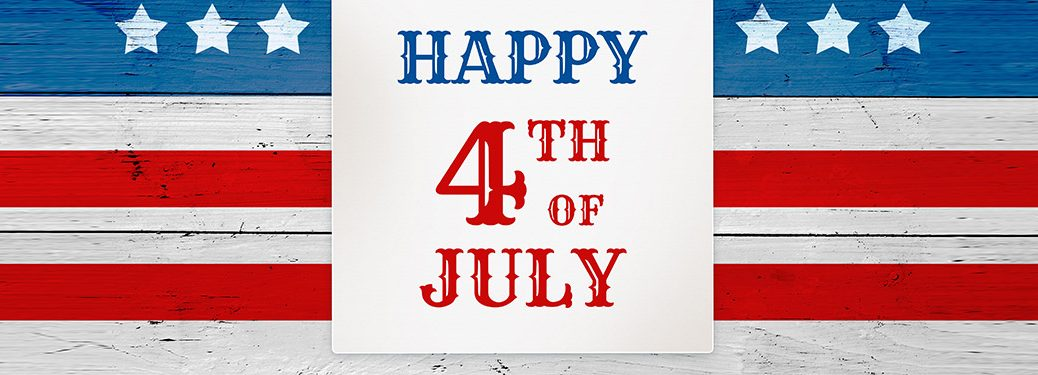 """American flag banner image with """"Happy 4th of July"""" written"""