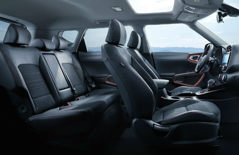 Two rows of seats inside 2020 Kia Soul