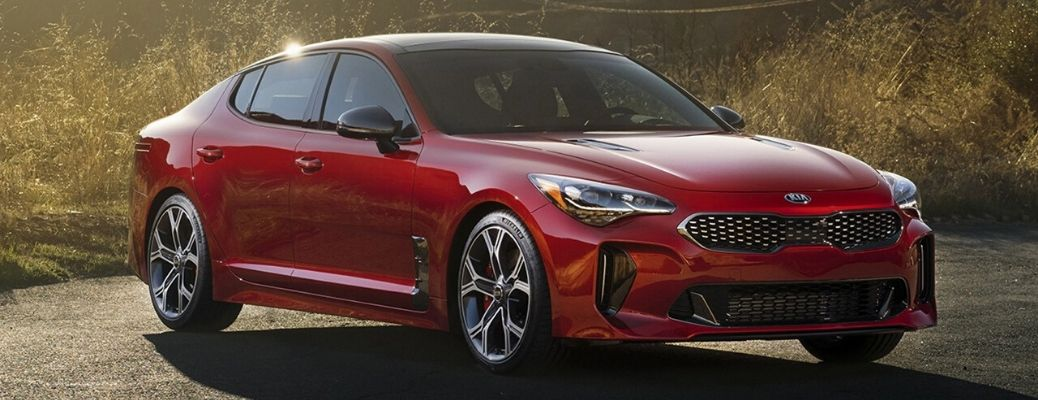 Exterior view of a red 2020 Kia Stinger