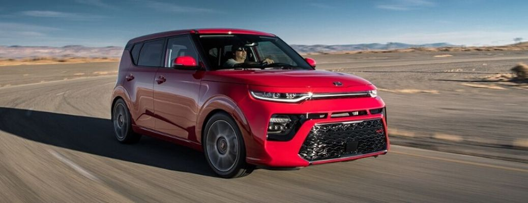 Exterior view of the front of a red 2020 Kia Soul