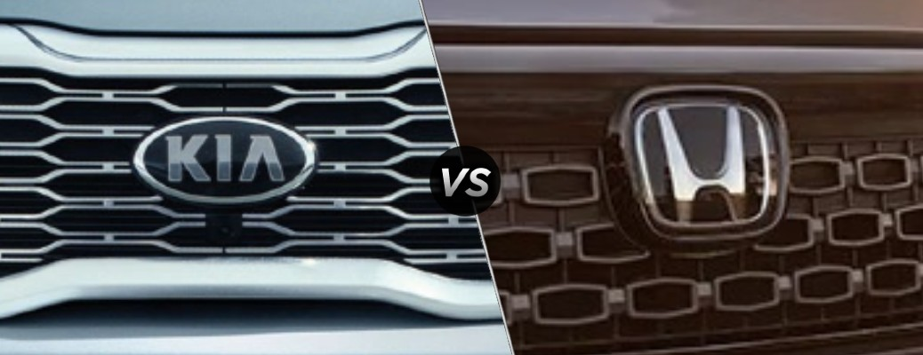 Comparison image of a Kia vehicle's grille and a Honda vehicle's grille