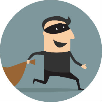 Cartoon Thief with Mask and Bag