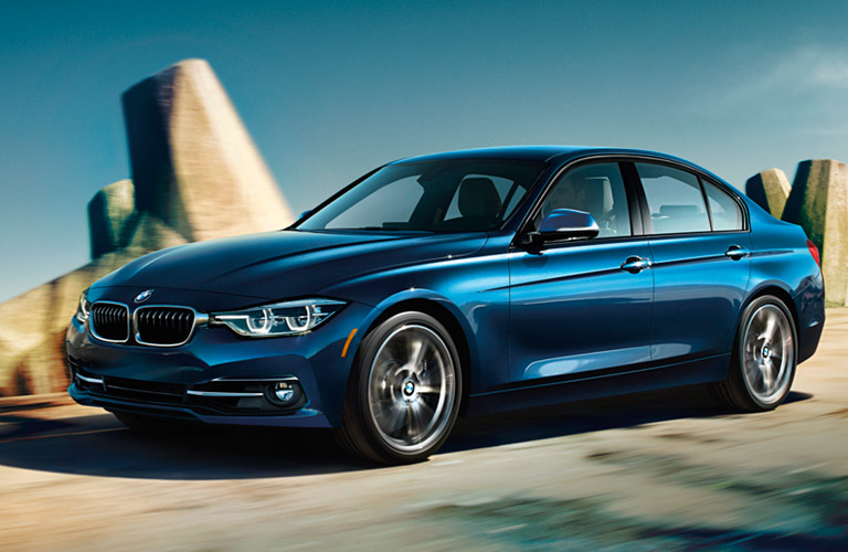 blue 2017 BMW 3 Series seen from the side