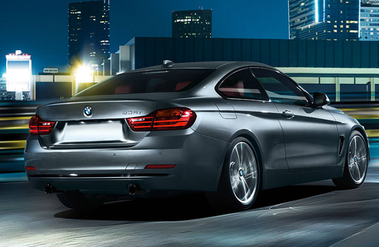 rear side view of the 2016 BMW 4 Series at night