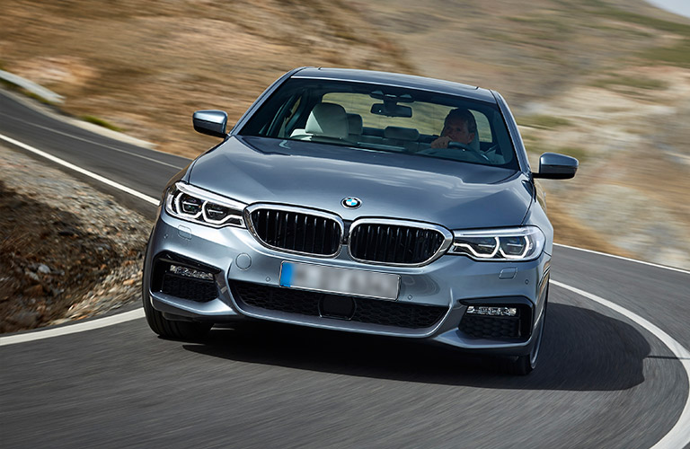 2017 BMW 5 Series on the road seen from the front