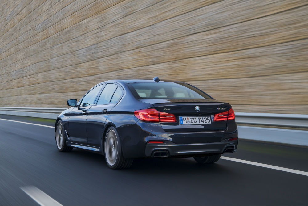 rear view of the 2017 BMW M550i