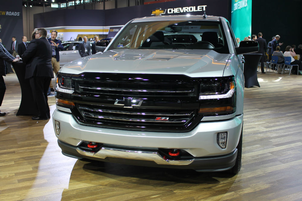 front grille view of the 2017 Chevy Silverado Redline at the 2017 Chicago Auto Show