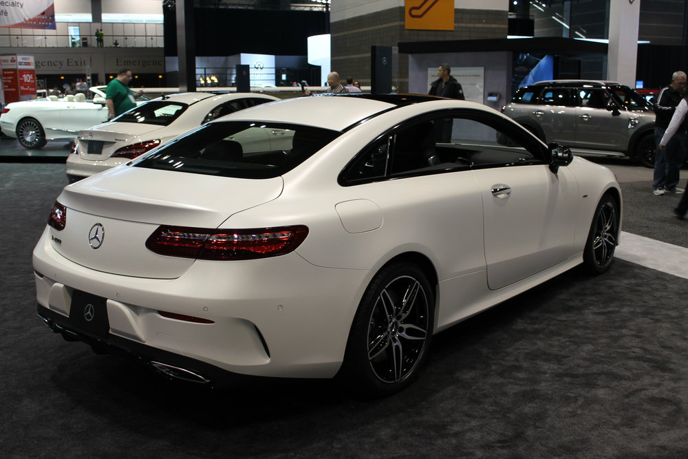 rear and right-size view of the 2017 Mercedes-Benz E-Class Coupe at the Chicago Auto Show 2017