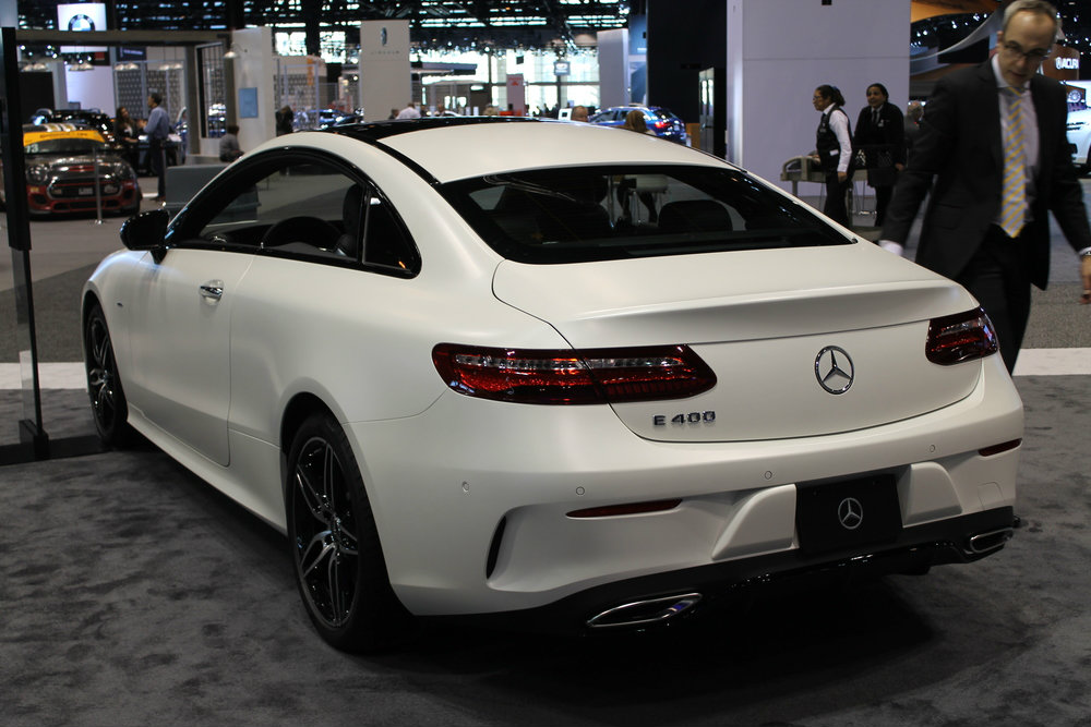 rear and left-size view of the 2017 Mercedes-Benz E-Class Coupe at the Chicago Auto Show 2017