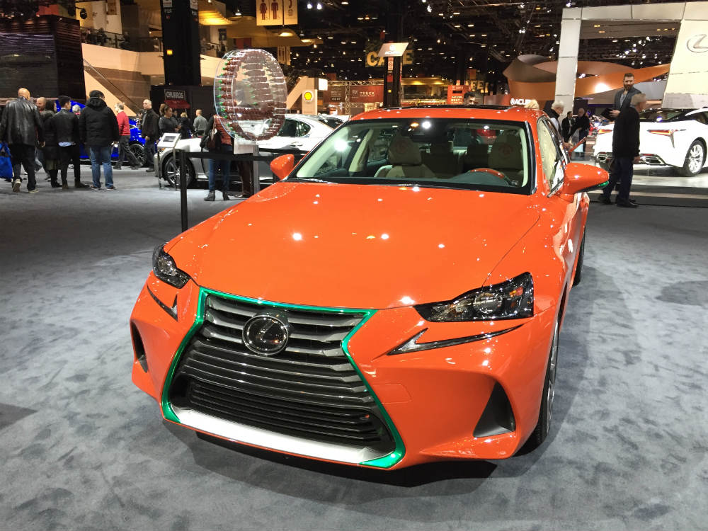 front view of the Lexus Sriracha IS at the 2017 Chicago Auto Show