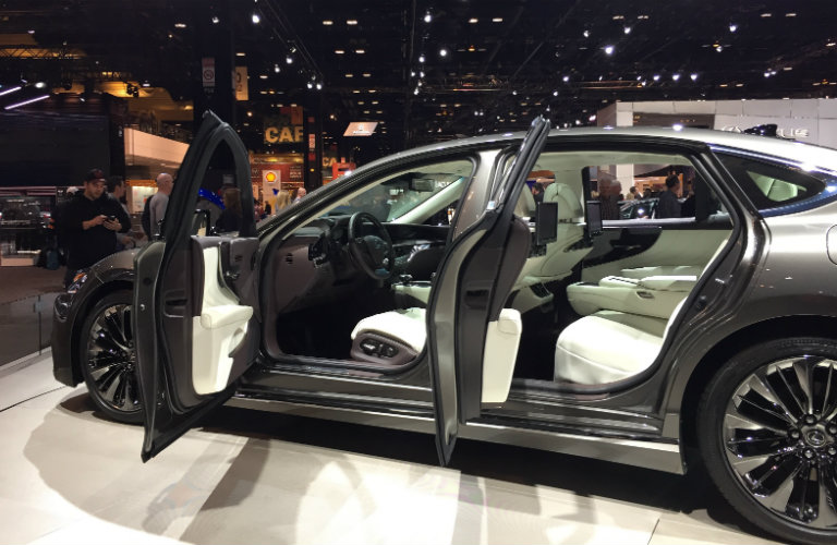 doors open interior view of the 2018 Lexus LS 500 at the 2017 Chicago Auto Show