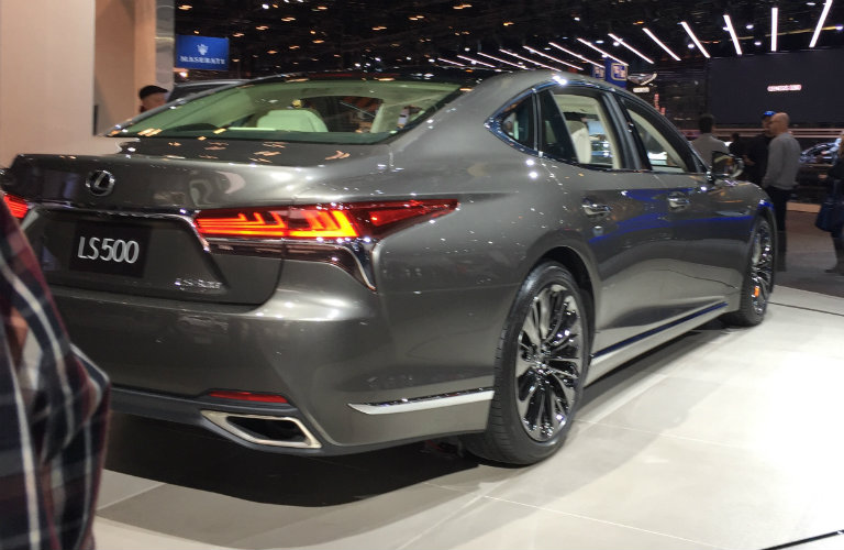 rear and side view of the 2018 Lexus LS 500 at the 2017 Chicago Auto Show
