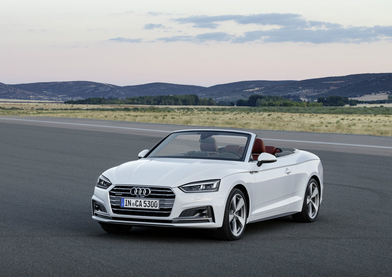 white 2018 Audi A5 Cabriolet on the track