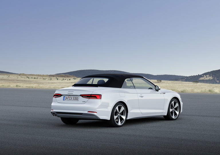 rear view of the 2018 Audi A5 Cabriolet with its top up
