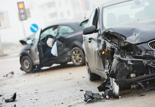 aftermath of an accident involving at least two cars