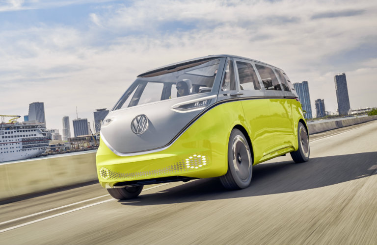Volkswagen I.D. Buzz Concept driving on a highway