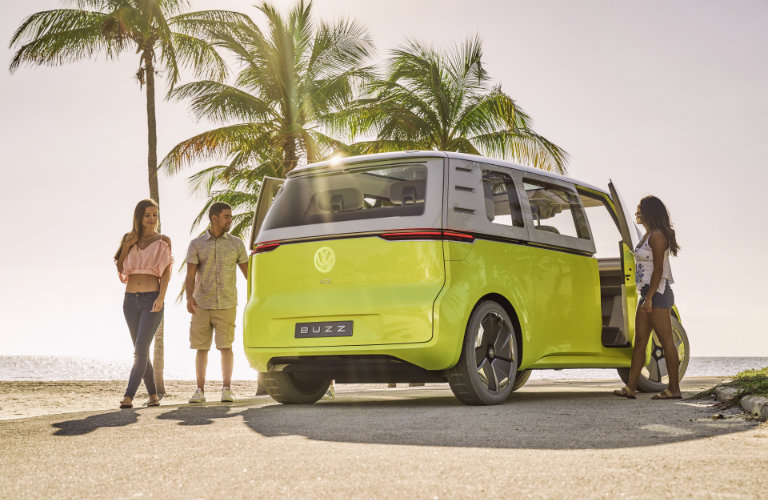 rear view of the Volkswagen I.D. Buzz Concept on a beach