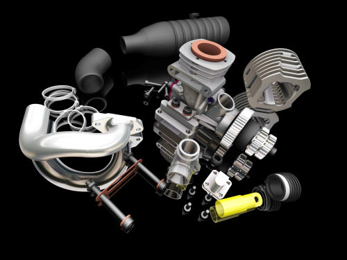 Car engine with black background