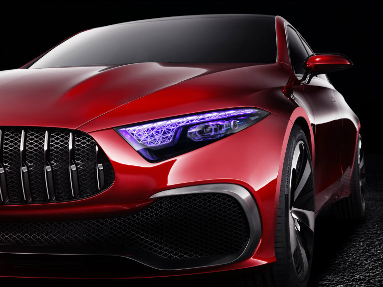 headlight close-up on the Mercedes-Benz Concept A sedan
