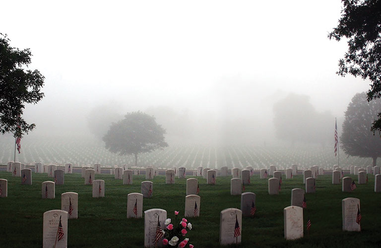 military cemetery covered in fog
