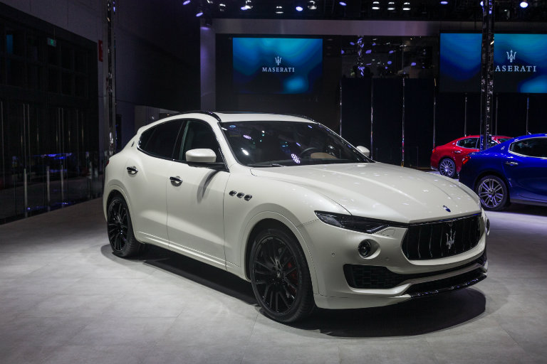 this white 2017 Maserati Levante at the Shanghai Auto Show represents the first-ever SUV to be produced by Maserati