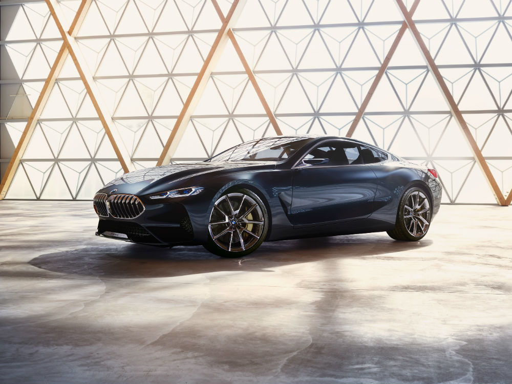 profile side view of the BMW Concept 8 Series with dramatic lighting