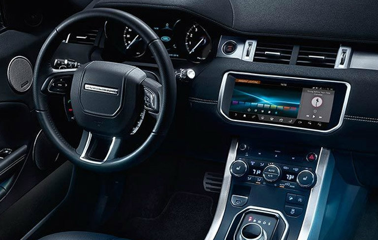 dashboard and steering wheel of the 2017 Land Rover Range Rover Evoque