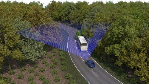 autonomous cruise control detecting a vehicle ahead on the road