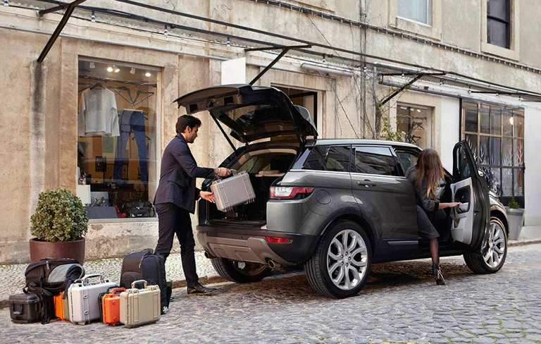 2017 Land Rover Range Rover Evoque being loaded with supplies
