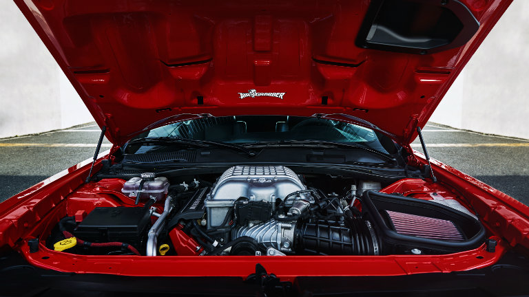 2018 Dodge Challenger SRT Demon with the hood open so you have a good view of its engine