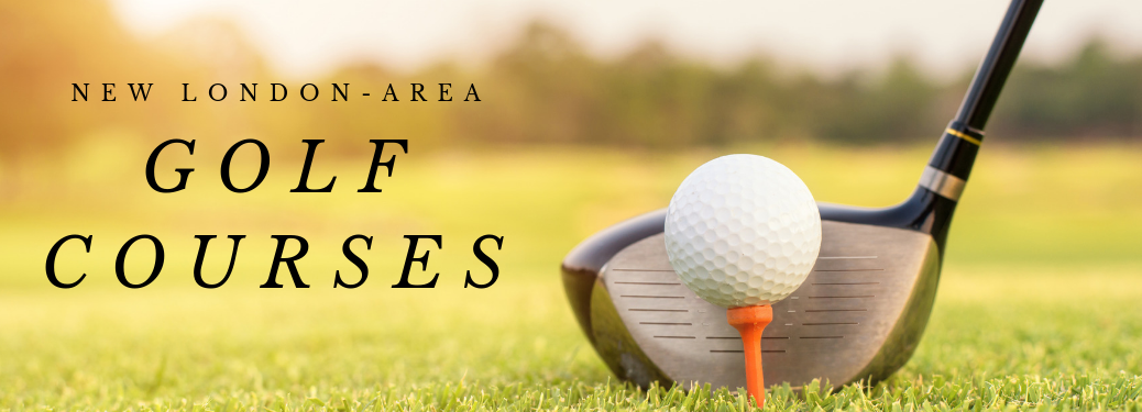 New London-Area Golf Courses title and a golf club, ball, and tee