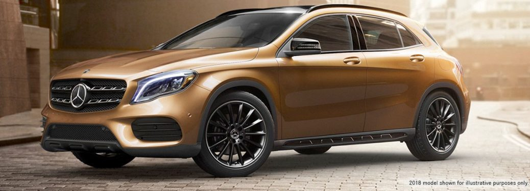 2019 Mercedes-Benz GLA parked on a street. 2018 model shown for illustrative purposes only.