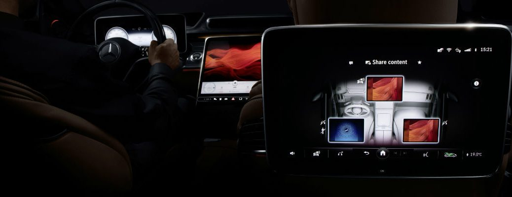 A photo of the multiple MBUX screens available in the 2021 Mercedes-Benz S-Class.