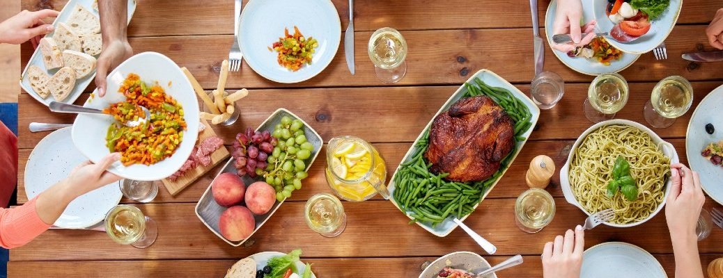 A stock photo of a table set for Thanksgiving.