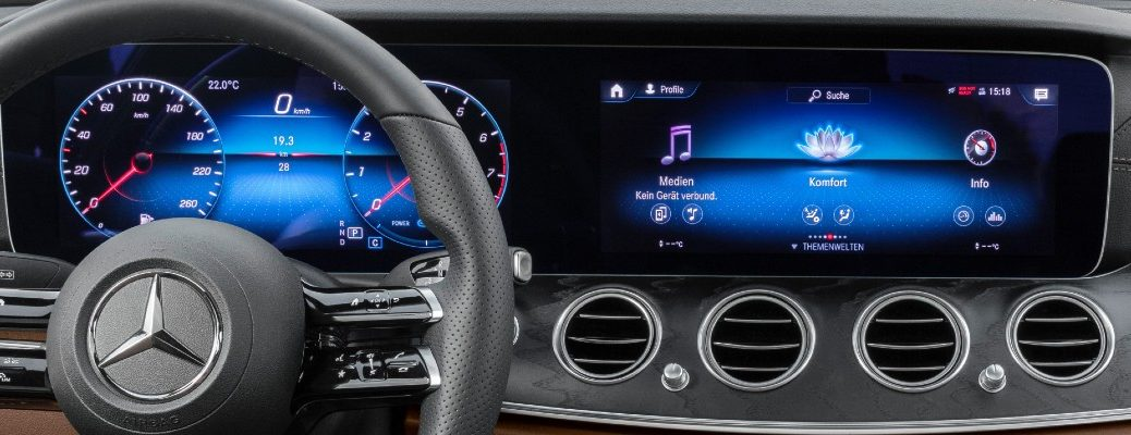 A photo of the dual digital screens that make up the MBUX system available on several Mercedes-Benz vehicles.