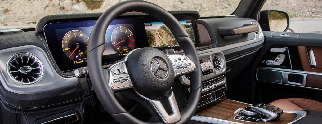 A photo of the dashboard in a Mercedes-Benz SUV.