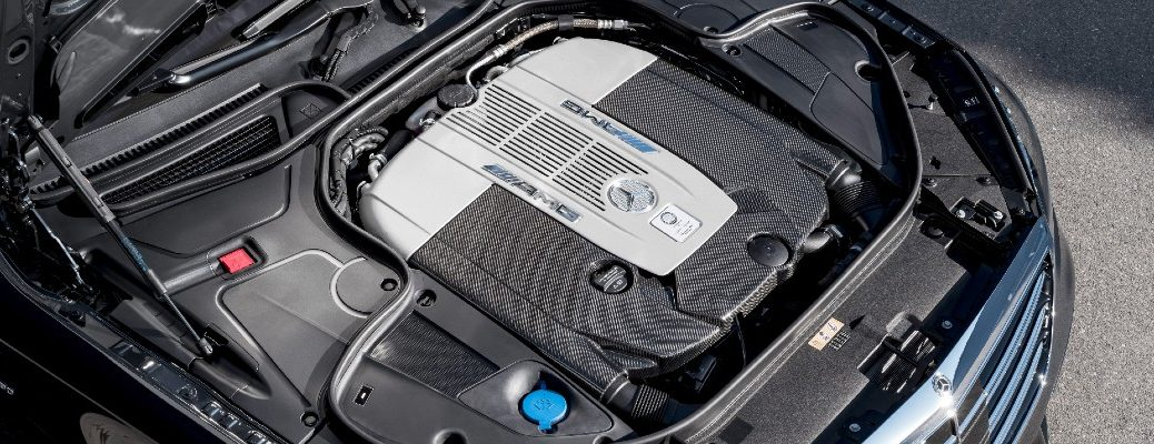 A photo of an engine in a Mercedes-AMG® vehicle.